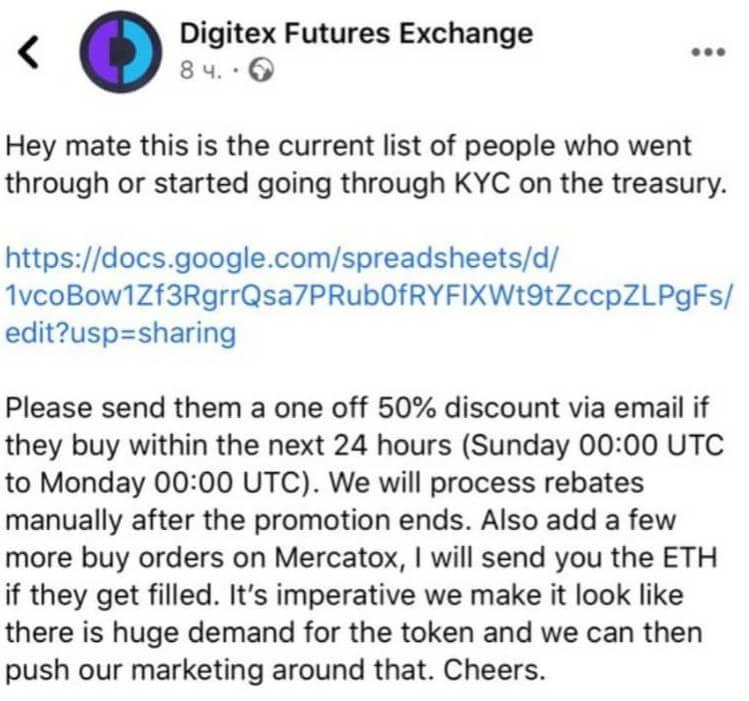 digitex leak message facebook